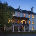 Exterior of B&B at dusk