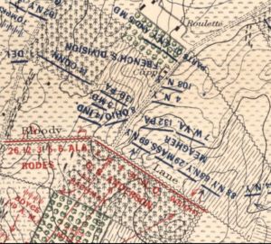 Antietam Battlefield map showing location of the 132nd PA during the attack by the Irish Brigade around 10:30, September 17, 1862.