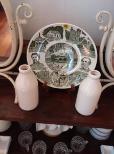 antique plate and bottles