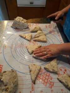 cutting out Fig-Walnut Cheese  Scones