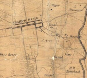1859 Taggart map of Sharpsburg.